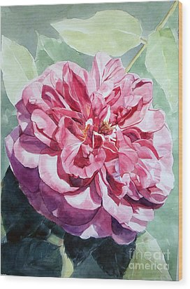 Watercolor Of A Pink Rose In Full Bloom Dedicated To Van Gogh Wood Print