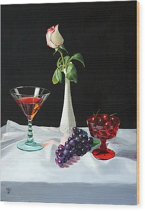 Wood Print featuring the painting Rose Wine And Fruit by Glenn Beasley