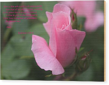 Rose With Scripture Wood Print by Carolyn Ricks