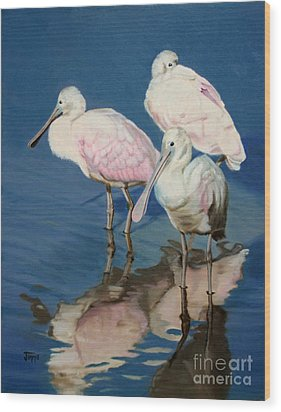 Wood Print featuring the painting Roseate Spoonbill Trio by Jimmie Bartlett