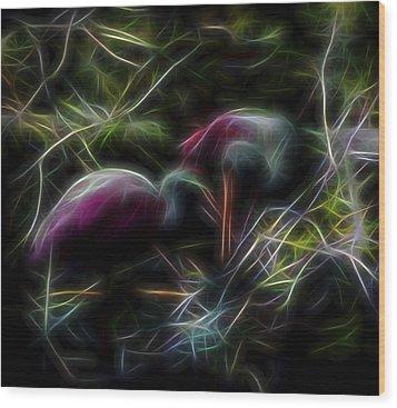 Wood Print featuring the digital art Roseate Spoonbills 2 by William Horden