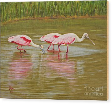Wood Print featuring the painting Roseatte Spoonbill Party by Jimmie Bartlett