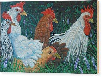 Rosebank Farm Chickens Wood Print