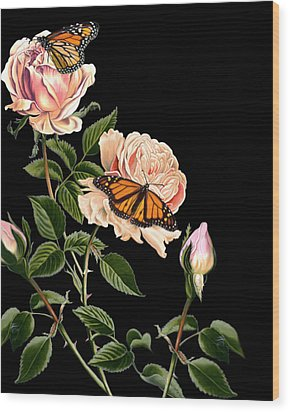 Roses And Butterflies Wood Print