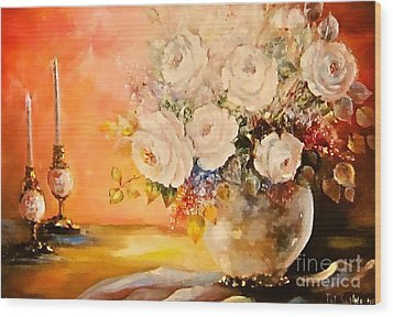 Roses And Candlelight Wood Print by Patricia Schneider Mitchell
