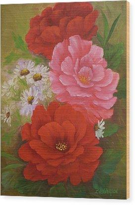 Roses And Daisies Wood Print
