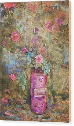 Roses And Fire Hydrant Wood Print