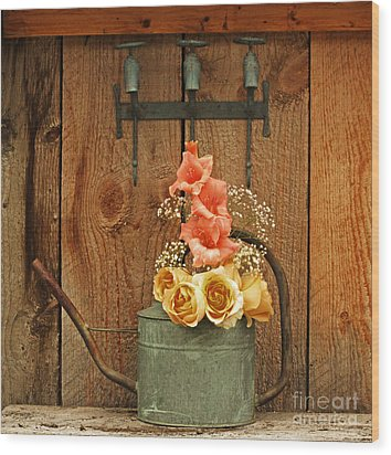 Wood Print featuring the photograph Roses And Gladiolus  by Marjorie Imbeau