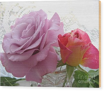Roses And Lace Wood Print by Marlene Rose Besso