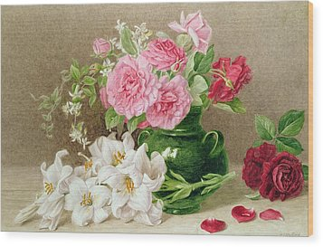 Roses And Lilies Wood Print by Mary Elizabeth Duffield
