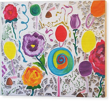 Roses And Lollipops For Mom Wood Print