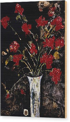 Wood Print featuring the painting Roses And Remembrance by Elaine Elliott