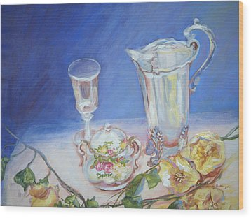 Roses And Tea Wood Print by Patricia Kimsey Bollinger