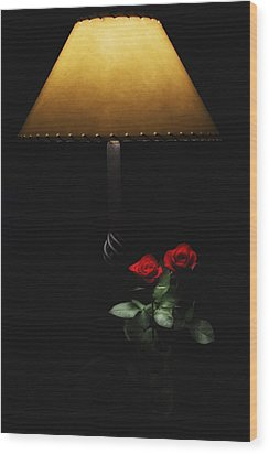 Roses By Lamplight Wood Print