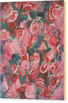 Wood Print featuring the painting Roses by Fereshteh Stoecklein