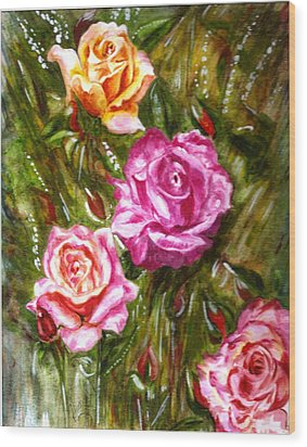 Wood Print featuring the painting Roses by Harsh Malik