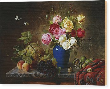 Roses In A Vase Peaches Nuts And A Melon On A Marbled Ledge Wood Print