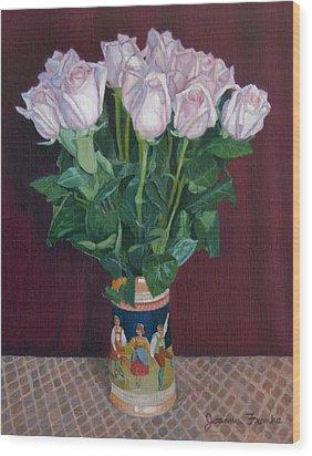 Roses In Beer Stein Wood Print by Joanna Franke
