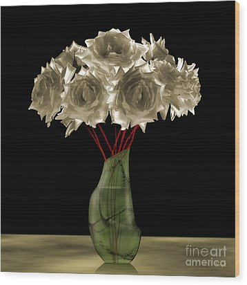 Roses In Green Vase Wood Print