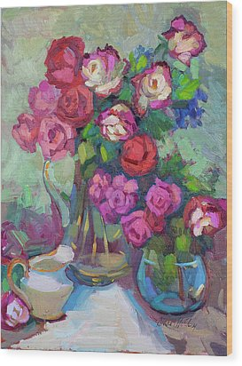 Roses In Two Vases Wood Print by Diane McClary