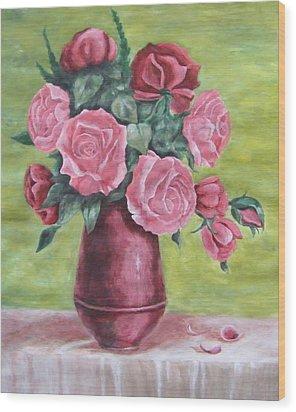 Roses In Vase Wood Print by Vlatka Kelc