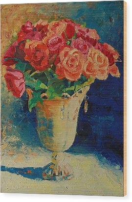 Wood Print featuring the painting Roses In Wire Vase by Thomas Bertram POOLE