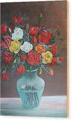 Roses Wood Print by Marta Styk
