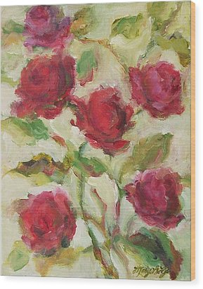 Wood Print featuring the painting Roses by Mary Wolf