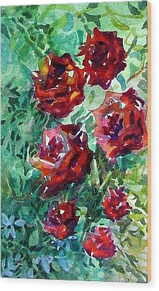Roses Wood Print by Mindy Newman