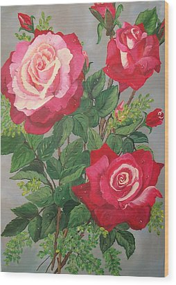 Wood Print featuring the painting Roses N' Rain by Sharon Duguay