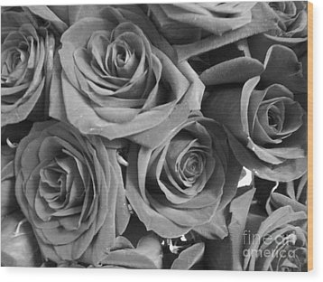 Wood Print featuring the photograph Roses On Your Wall Black And White  by Joseph Baril