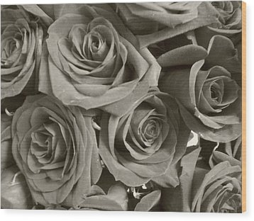 Wood Print featuring the photograph Roses On Your Wall Sepia by Joseph Baril