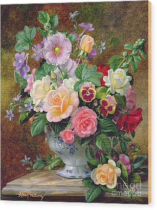 Roses Pansies And Other Flowers In A Vase Wood Print by Albert Williams