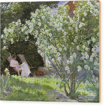 Roses Wood Print by Peder Severin Kroyer
