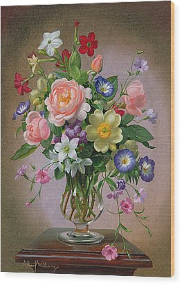 Roses Peonies And Freesias In A Glass Vase Wood Print by Albert Williams