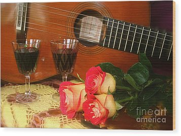 Guitar 'n Roses Wood Print by The Art of Alice Terrill