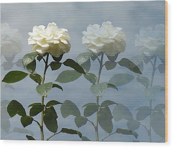 Roses Roses And More Roses Wood Print by Rosalie Scanlon