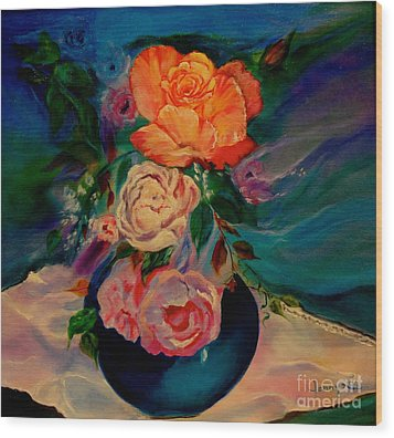 Wood Print featuring the painting Roses Roses Roses by Jenny Lee