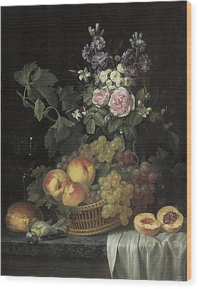 Roses Stocks Jasmine And Other Flowers In A Vase Wood Print by Jean-pierre-xavier Bidauld