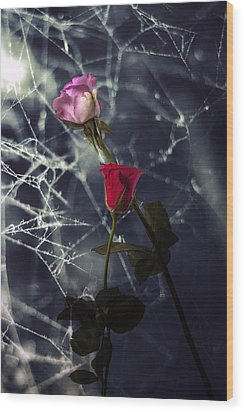 Roses With Coweb Wood Print by Joana Kruse