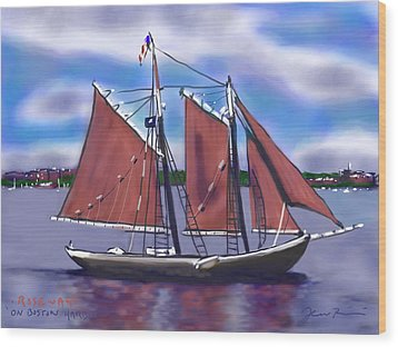 Wood Print featuring the painting Roseway On Boston Harbor by Jean Pacheco Ravinski