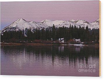 Rosey Lake Reflections Wood Print