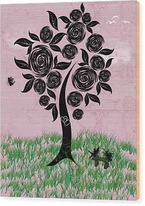 Rosey Posey Wood Print by Rhonda Barrett