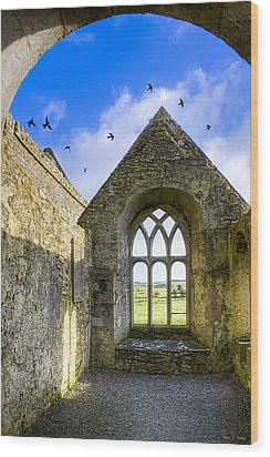 Ross Errilly Friary - Irish Monastic Ruins Wood Print by Mark E Tisdale