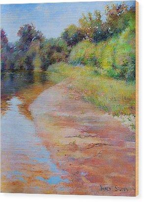 Rosy River Wood Print by Nancy Stutes