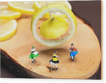 Wood Print featuring the photograph Rotating Dancers And Lemon Gyroscope Food Physics by Paul Ge