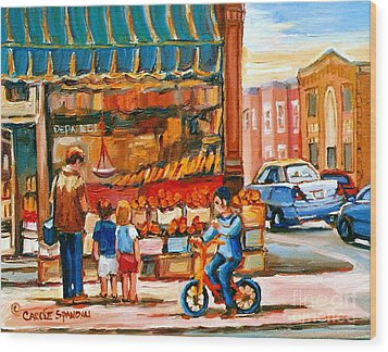 Roter's Fifties Fruit Store Vintage Montreal City Scene Paintings Wood Print by Carole Spandau