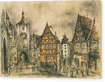 Rothenburg Bavaria Germany - Romantic Watercolor Wood Print