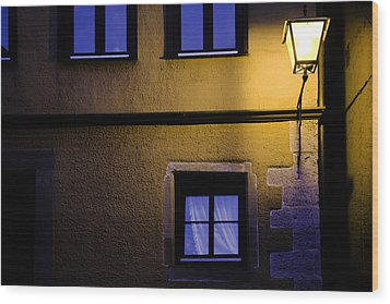 Rothenburg By Night Wood Print by Joanna Madloch