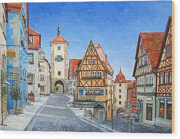 Rothenburg Germany Wood Print by Mike Rabe